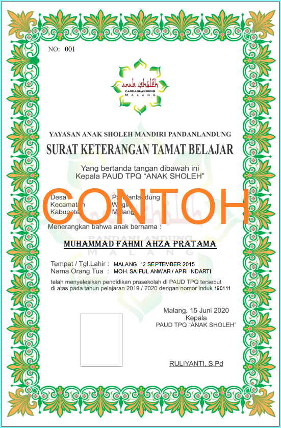 Download Bingkai Ijazah Paud Arif Blog